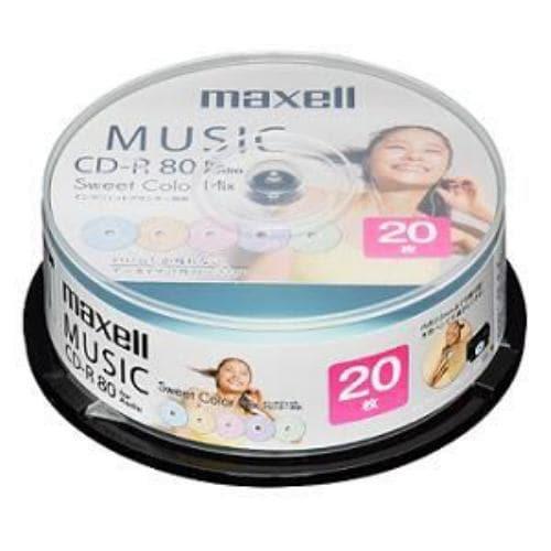maxell 音楽用CD-R 80分 カラープリンタブル 20枚スピンドル CDRA80PSM20SP