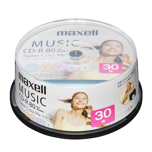 maxell 音楽用CD-R 80分 カラープリンタブル 30枚スピンドル CDRA80PSM30SP