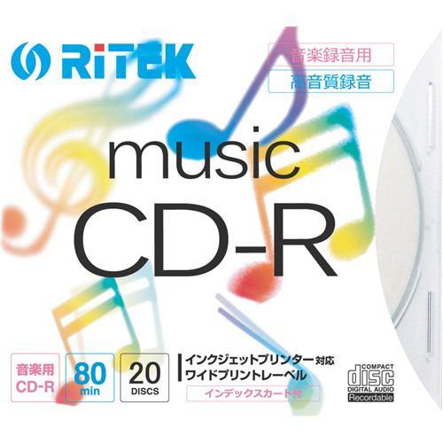RiDATA CDRM8020PC 音楽用CD-R ワイドプリントレーベルディスク 80分 20枚 スリムケース