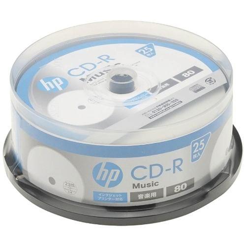 ヒューレットパッカード CDRA80CHPW25PA 音楽用CD-R インクジェットプリンター対応ホワイトワイドレーベル 1-32倍速 25枚