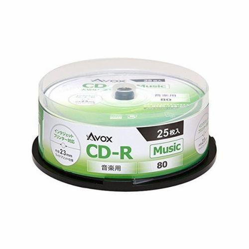 AVOX CDRA80CAVPW25PA CD-RA 音楽用80分 1-32倍速 25枚 スピンドルケース