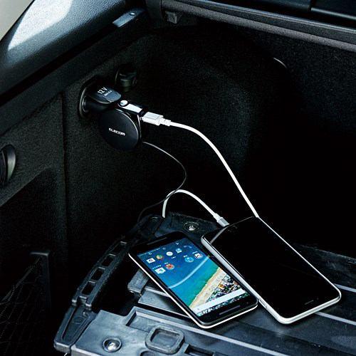 エレコム MPA-CCC05BK シガーチャージャー リールタイプ 車載充電器(5.4A・巻取りType-C&USB) ブラック