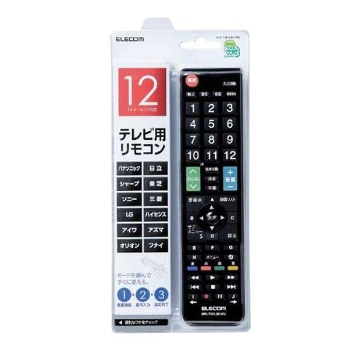 エレコム ERC-TV01LBK-MU かんたんTVリモコン/12メーカー対応 ブラック