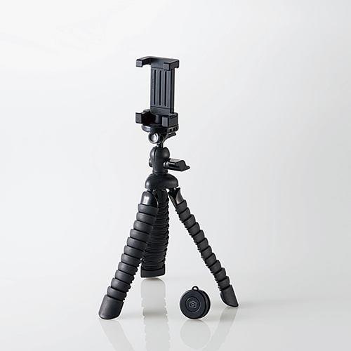 エレコム P-STFLRBK スマートフォン用フレキシブル三脚(BTリモコン付) ブラック