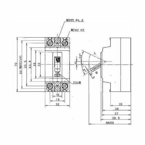 パナソニック BJS3031N 小形漏電ブレーカ 30A 2P1E O.C付 100V専用