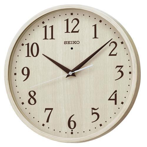 セイコークロック KX399A 電波掛時計 ステップセコンド プラスチック枠(アイボリー木目模様塗装)