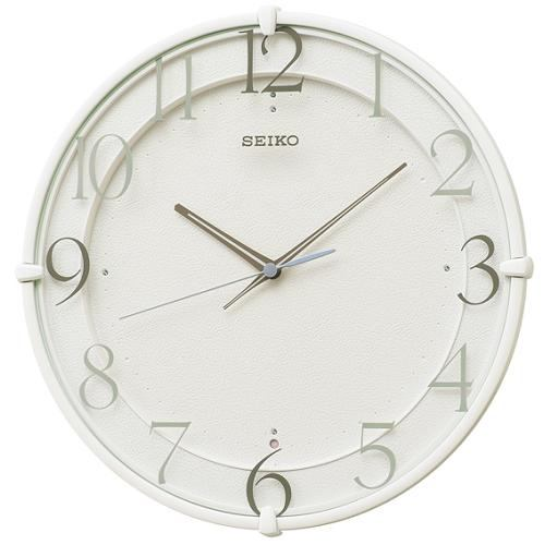 セイコークロック KX215W スタンダード 電波掛時計 白塗装 スイープセコンド おやすみ秒針