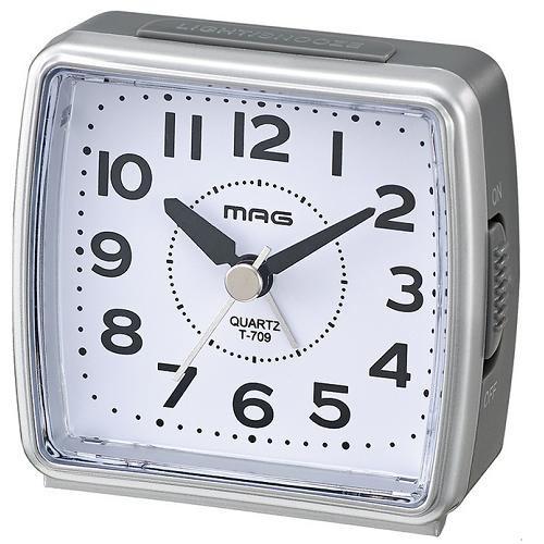 ノア精密 T-709 SM MAG 小時郎 目覚し時計 シルバー 電子音アラーム スヌーズ機能 連続秒針 ライト付