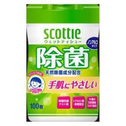 スコッティ ウェットティシュー 除菌 ノンアルコールタイプ 100枚 日本製紙クレシア スコツテイウエツトジヨキンノンA100