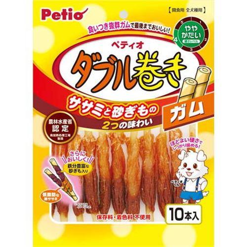 ペティオ  ササミ+チキンガムMOGU砂ぎもハード ダブル巻き ガム  10本入